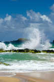Waves Breaking on the Rocks at Kauapea Beach  Kauai  Hawaii  USA