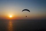 Paramotor Flying at Sunset  Aegean Sea  Western Turkey