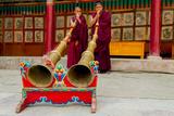 Monks Blow Large Ceremonial Horns at Hemis Monastery  Ladakh  India