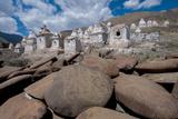 Chortens and Prayer Stones Below Stok Palace  Ledakh  India