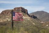 Flag with Mountains  Tonto National Forest Apache Trail  Arizona  USA