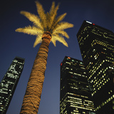 Nighttime in Downtown Los Angeles  California  USA