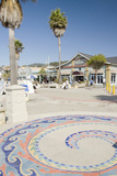 Decorative Wave Tile Sidewalk Art  Avila Beach  California  USA