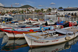 Colorful Wooden Fishing Boats in the Old Harbor of Kusadasi  Turkey