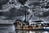 Stylized Grungy Treatment on Old Fishing Boat  Trinidad  Cuba