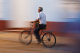 Man in Motion Riding Bicycle at Night  Trinidad  Cuba
