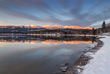 Whitefish Lake Reflecting Big Mountain in Winter Sunset  Montana  USA