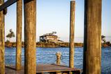 Dock and House across Bayou Petit Caillou  Cocodrie  Louisiana  USA
