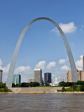 St Louis Skyline with Gateway Arch  Mississippi River  Missouri  USA