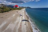 Paramotor Flying over Olympos Beach  Antalya  Turkey