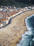 View of Town and Beach from Sitio  Nazare  Portugal