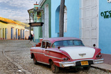 Colorful Buildings and 1958 Chevrolet Biscayne  Trinidad  Cuba