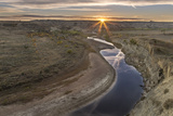 Sunset over the Little Missouri River  North Dakota  USA