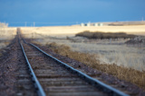 Lonely Railroad Track Near Fairfield  Montana  USA