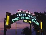 Santa Monica Pier Neon Entrance Sign  Los Angeles  California  USA