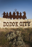 Dodge City Sign with Cowboy Silhouettes  Kansas  USA