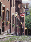 Houses Along Acorn Street  Boston  Massachusetts  USA