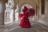 Elaborate Costume for Carnival Festival  Venice  Italy
