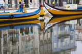 Moliceiro Boats by Art Nouveau Buildings Canal  Averio  Portugal