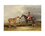 Portrait of John Drummond on a Hunter with a Groom Holding His Second Horse  in a Landscape  a…