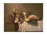 Still Life of a Roemer  an Overturned Silver Tazza  a Flute and a Ham  1643