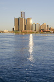 Sunrise over Downtown Detroit  Michigan  USA