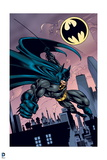 Batman: Batman Swinging with Rope One Hand Outstretched in Fist City Bat Signal in Background