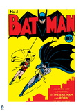 Batman: Cover Batman and Robin Swinging over the City Outlined in Red