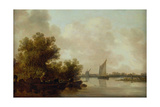 Wooded River Landscape with Fishermen