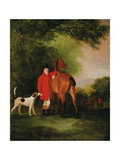 Portrait of Lord Lismore in a Hunting Coat with His Bay Hunter and a Hound  in a Landscape  a…