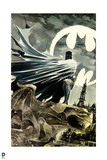 Batman: Watercolor of Batman Crouching on Gargoil Cape Wrapped around Him City