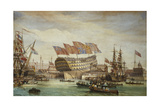 The Launching of Hms Trafalgar at Chatham 26 July 1820  1836