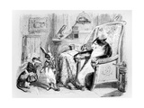 The Cat  the Weasel and the Little Rabbit  Illustration for 'Fables' of La Fontaine (1621-95) …