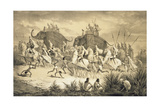 Cavalcade of Sikh Chieftains on Elephants  from 'Voyage in India'  Engraved by Louis Henri De…