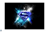 Superman: Blue Superman Logo in Blue Lights Against a Black Background