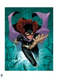 Batman: Cover Art of Batgirl Jumping Forward with Hand Reaching Out with Bats Circling around Her