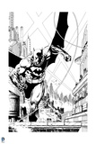 Batman: Black and White Batman Running on the Roof of a Building