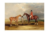 Portrait of John Drummond on a Hunter  with a Groom Holding His Second Horse  Melton Mowbray  1831