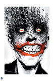Batman: Cover Art the Joker in Suit with Black Background Smiling Creepily