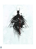 Batman: Black Lined Outline of Batman with Wings and White Background