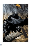 Batman: Batman Cover Art Crouching with City Behind Him