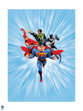 Justice League: Superman with Flash  Green Lantern  Batman with Light Blue Background