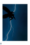 Batman: Cover Art Action Shot with Silhouette of Batman Jumping and a Bolt of Lightning Behind Him