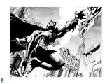Batman: Black and White Image of Batman Jumping and Reaching Out to Grab a Foot