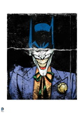 Batman: Torn Image of Batman's Head and Smiling Mouth of the Joker Underneath