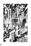 Batman: Black and White Drawing of Buildings on Fire with Smoke Rising Off of Them