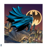 Batman: Batman Standing on a Gargoyle Cape Wrapped around Him City and a Bat Signal Behind Him