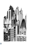 Batman: Black and White Image of the Towers in Gotham City