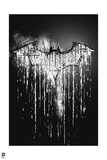 Batman: Black and White Bat Symbol with White Dripping Off of It