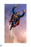 Superman: Superman Flying with Cloud Background